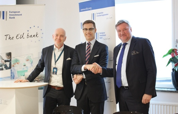 Lars Pettersson, CEO of Nexus Group, Alexander Stubb, Vice-President of the EIB, and Anders Berg, CFO of Nexus Group